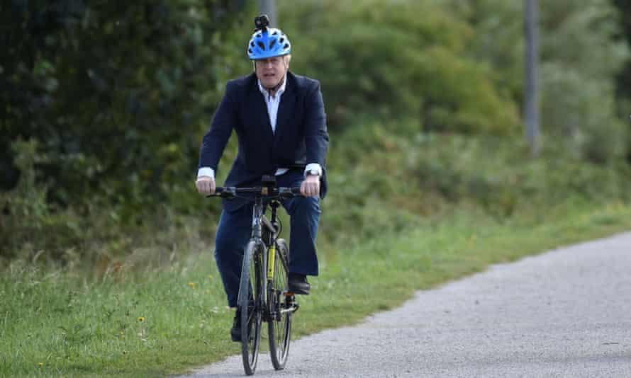 Boris Johnson cycles in Beeston near Nottingham, July 2020.