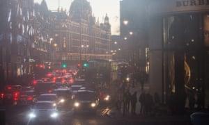 Traffic in Brompton Road London