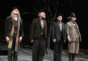 Thriving … Billy Crudup, left, with McKellen, Stewart and Shuler Hensley in their Beckett double bill at Cort theatre, New York, 2013.
