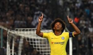 Willian celebrates scoring for Chelsea against PAOK Salonika.