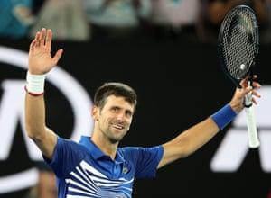 Djokovic beats Rafael Nadal 6-3, 6-2, 6-3.