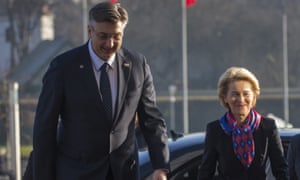 Croatia's prime minister, Andrej Plenković, left, and the EU commission's president, Ursula von der Leyen, in Zagreb, Croatia, on Friday 10 January.