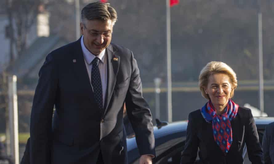 Croatia's prime minister, Andrej Plenković, left, and the EU commission's president, Ursula von der Leyen, in Zagreb, Croatia, on Friday 10 January.