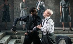 Put 'em up… Ansu Kabia as Tybalt, left, with Derek Jacobi as a 'dandy' Mercutio.