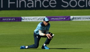 Sam Billings of England takes the catch of Andy McBrine.