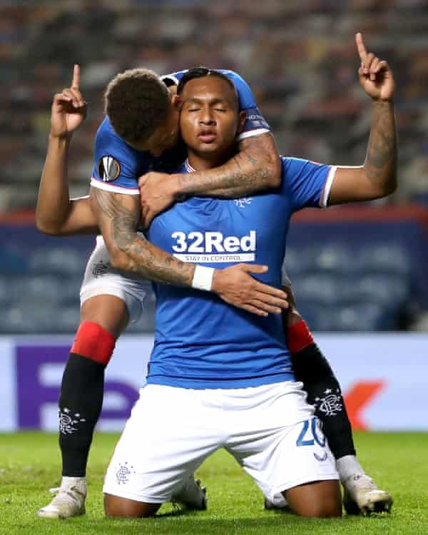 Alfredo Morelos broke the deadlock for Rangers against Lech Poznan shortly after coming off the bench.
