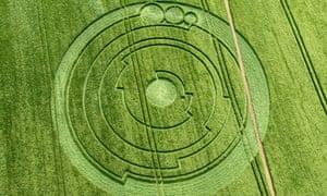The crop circle at Barbury Castle, Wiltshire, on 1 June 2008.