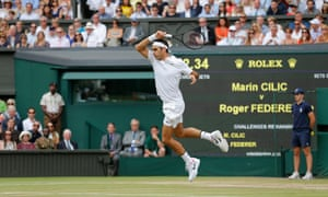 Roger Federer during the men's singles final against Marin Cilic on Centre Court at Wimbledon 2017.