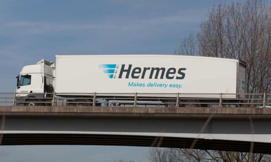 A Hermes truck travels through the Midlands in the UK
