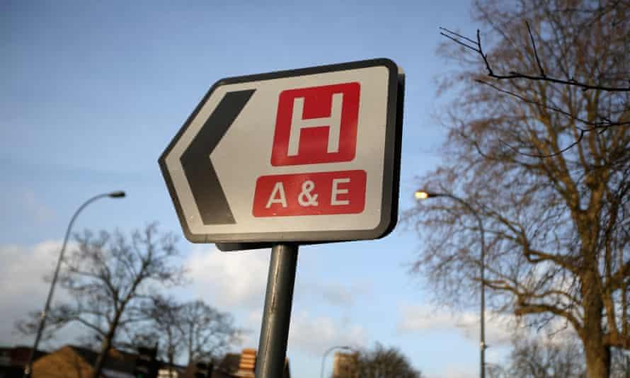 Hospital A&E sign.