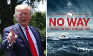 Donald Trump and a 'stop the boats' campaign poster