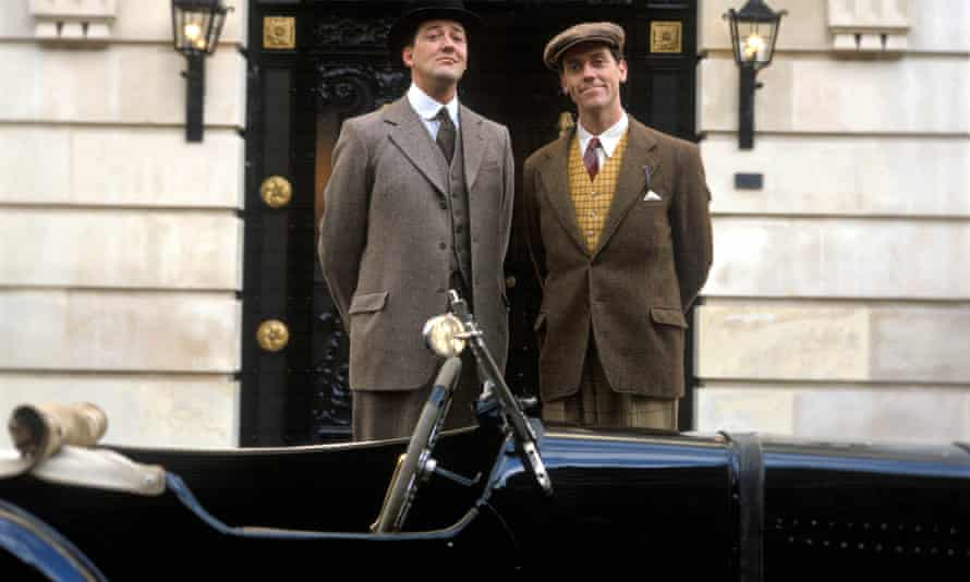 Stephen Fry as Jeeves and Hugh Laurie as Bertie Wooster in Jeeves and Wooster.