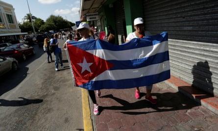 Cubans marching