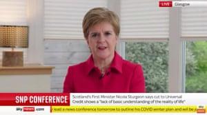 Nicola Sturgeon delivering her conference speech