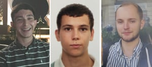 Jack Gilbert, 23 (left), Alberto Fresneda Carrasco, 19 (middle), and Harrison Scott-Hood, 23 (right), have been named as the three men who died after being hit by a train.