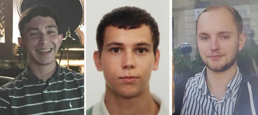 Jack Gilbert, 23 (left), Alberto Fresneda Carrasco, 19 (centre), and Harrison Scott-Hood, 23