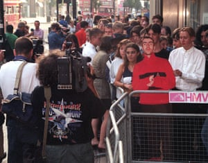 Oasis fans queue outside HMV Oxford Street on 21 August 1997 to buy Be Here Now. Hundreds of stores across the country opened at 8am to give fans the chance to buy the record at the earliest opportunity.