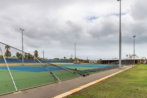 Damaged fences at the Kalbarri tennis courts.