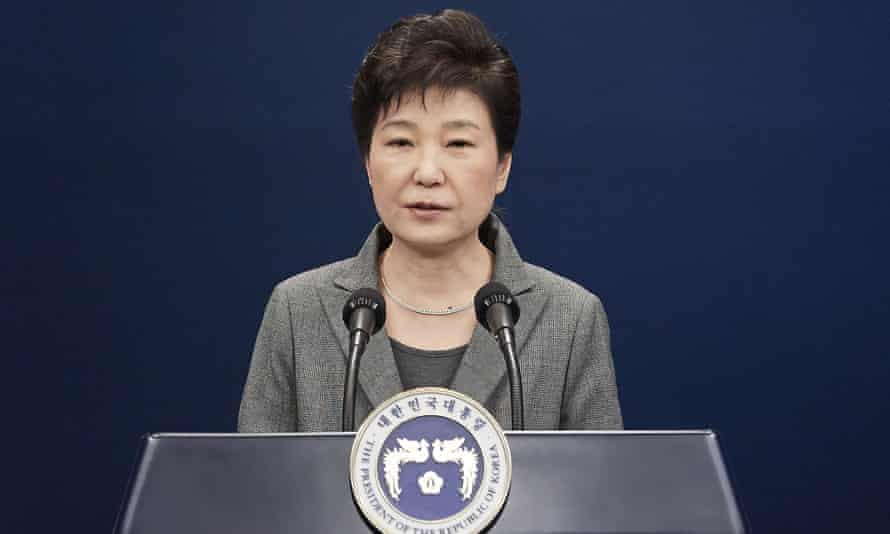 Park making an addresses from the presidential Blue House in November 2016.