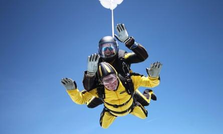 Verdun Hayes during his tandem skydive.