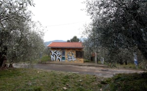 Graffitti covers the negelcted checkpoint at the French-Italian border in Olivetta, Italy