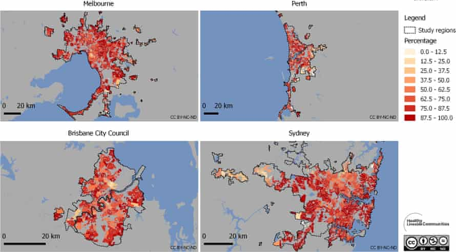 Percentage of residences by suburb within 400m of public open space.