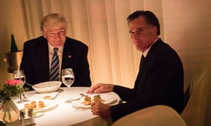 Donald Trump and Mitt Romney dine at Jean Georges restaurant in New York City, in November 2016.