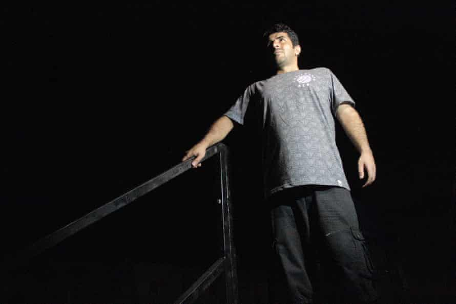 Iranian Benham Satah, at the top of the staircase in the Manus Island detention centre where his friend Reza Barati was murdered
