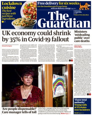 Guardian front page, Wednesday 15 April 2020