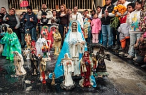 A tequila blessing, where Santa Muerte statuettes are first blessed with tequila and then a ring of fire is lit to signify their status as sacramental icons to Santa Muerte.