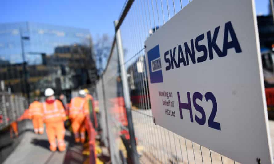 Construction workers at a HS2 site in London last month.