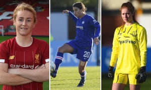 Left to right: Rachel Furness of Liverpool; Sam Kerr of Chelsea; Sandy MacIver of Everton.