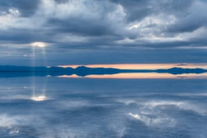 When there is a thin sheet of water, the sky is reflected in the brine