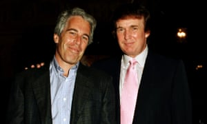 Jeffrey Epstein and Donald Trump as they pose together at the Mar-a-Lago estate.