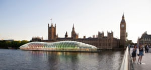 One speculative proposal, above, was for a floating parliament moored alongside the Palace of Westminster.
