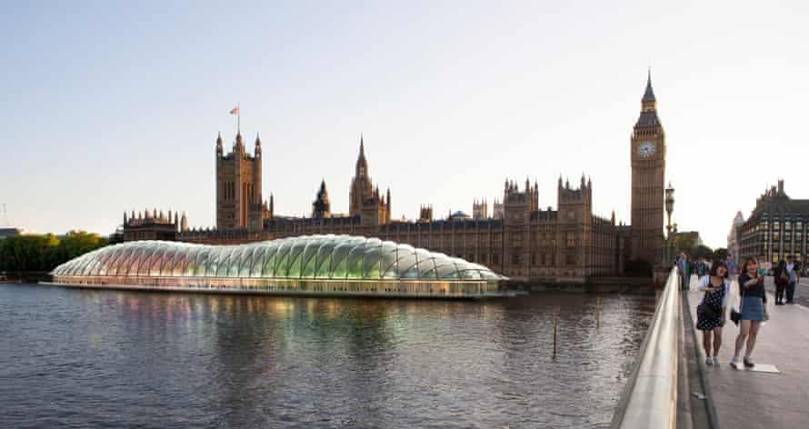 Floating Parliament: Gensler's proposal for a bubble-like pontoon to house parliament while Westminster Palace is refurbished