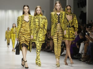 Prints charming: models in signature Versace style.