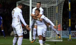 Samu Sáiz celebrates the goal that set Leeds on their way to a table-topping night at Elland Road.
