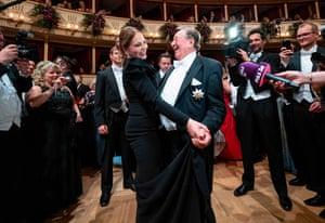 Vienna, Austria: The Italian actor Ornella Muti dances with the Austrian businessman Richard Lugner at the Vienna State Opera during the annual Opera Ball
