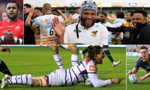 Billy Vunipola, Wasps Nizaam Carr celebrates, Josh Adams of Worcester Warriors scores his hat-trick and Guy Thompson celebrates scoring for Leicester Tigers.