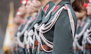Austrian soldiers at an armed forces ceremony in Vienna, Austria in January 2020.