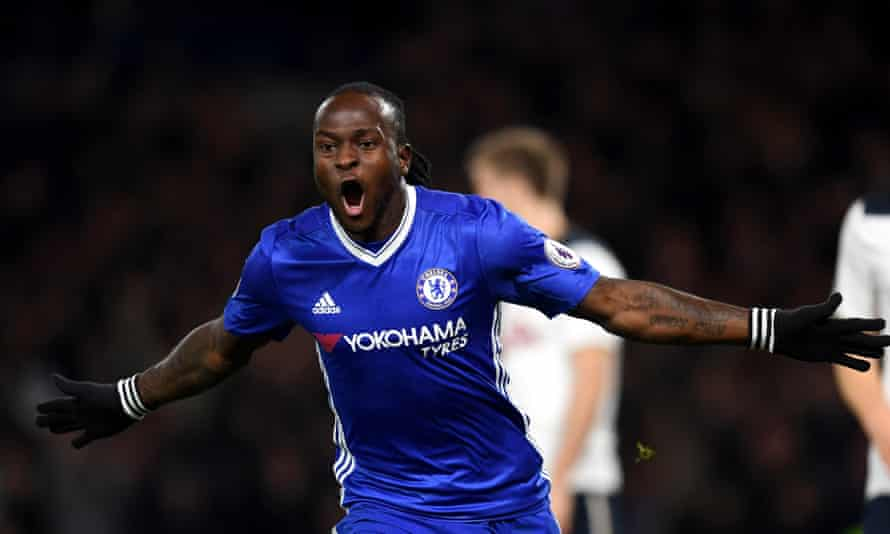Chelsea's Victor Moses of Chelsea celebrates scoring a a rare goal, the winner on the 2-1 home win over Tottenham in November.