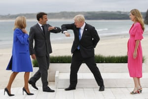 St. Ives, England Boris and Carrie Johnson greet President Macron and Brigitte Macron during arrivals for the G7 meeting in Cornwall
