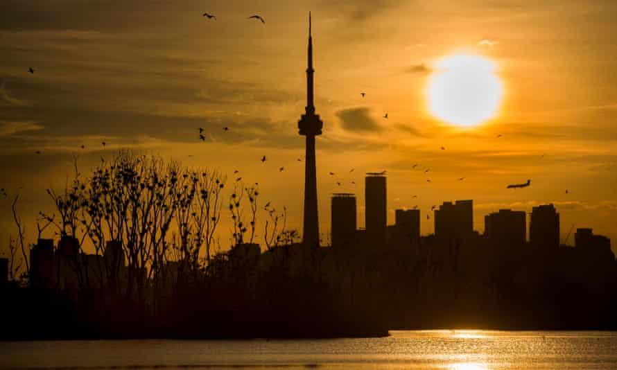 The sun setting over Toronto