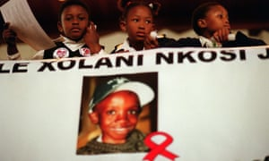 Children attend a 2001 memorial service for Nkosi Johnson, who died of Aids after addressing an international Aids conference the previous year