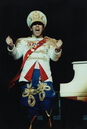 Elton performs in a military-themed costume at Hammersmith Odeon in London in 1982