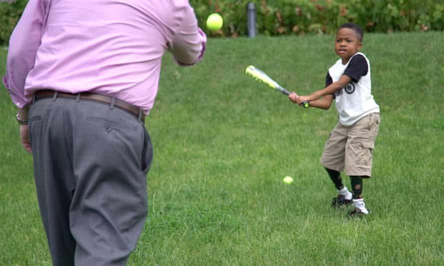 Zion playing baseball
