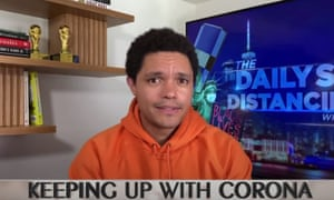 """Trevor Noah: America """"has two choices right now: limit the spread of corona by following the science, or listen to the advice of internet randos like Dr. Demon Sperm."""""""