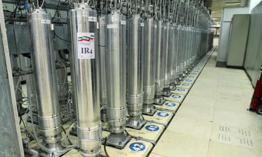 Centrifuge machines in the Natanz uranium enrichment facility in Iran