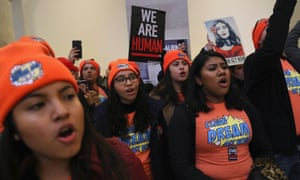 Immigration activists staged a demonstration in an effort to pressure Congress to pass legislation protecting the Dreamers.